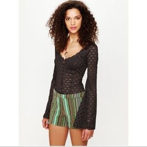 Free People | Woven Serape Tapestry Shorts Green